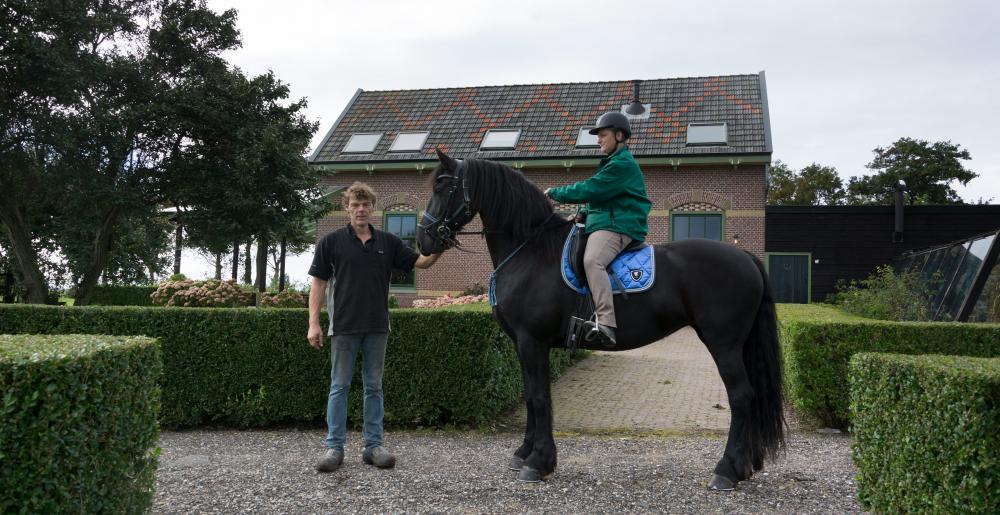 The Dutch farrier Douwe Dokter with a Frisian Horse