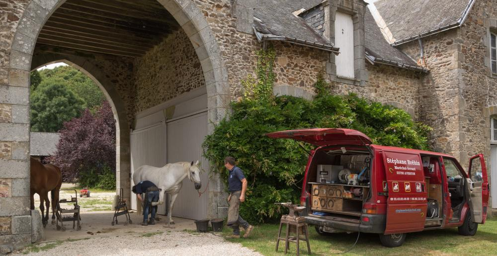The French farrier Stéphane Brehin at work on a castle